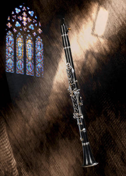 Photograph - Clarinet Music Instrument Againt A Church Window 3523.02 by M K Miller