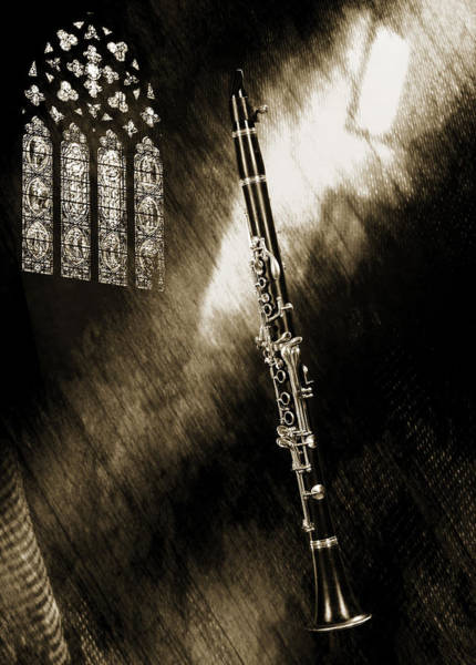 Photograph - Clarinet Music Instrument And Sepia Church Window 3523.01 by M K Miller