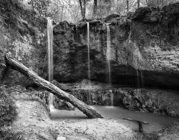 Photograph - Clark Creek Nature Area Waterfall No. 2 In Black And White by Andy Crawford