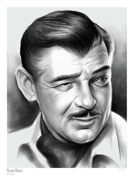 Pencil Drawing - Clark Gable 26aug17 by Greg Joens