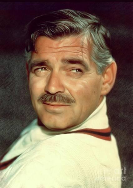 Clark Gable Wall Art - Digital Art - Clark Gable, Actor by Mary Bassett