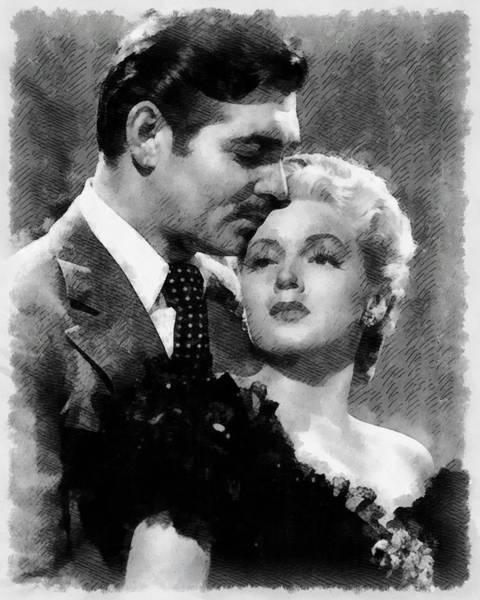 Clark Gable Wall Art - Painting - Clark Gable And Lana Turner Hollywood Legends by Frank Falcon