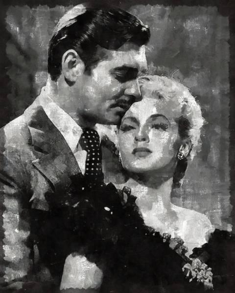 Clark Gable Wall Art - Painting - Clark Gable And Lana Turner Hollywood Legends by Mary Bassett