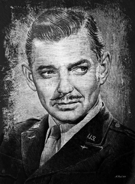 Handsome Drawing - Clark Gable by Andrew Read
