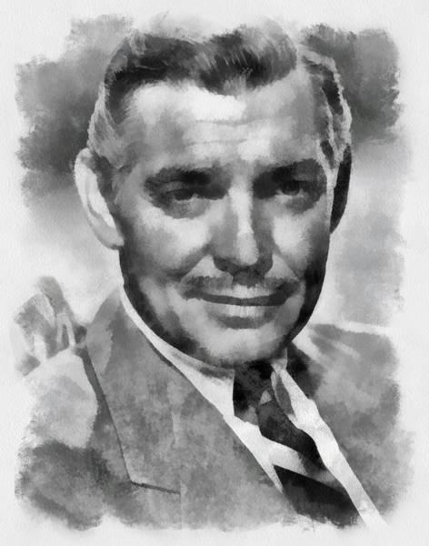 Clark Gable Wall Art - Painting - Clark Gable Hollywood Actor by Esoterica Art Agency