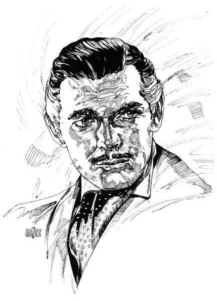 Inking Wall Art - Drawing - Clark Gable Inking by Garth Glazier