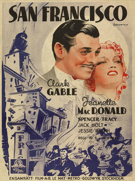 Wall Art - Mixed Media - Clark Gable San Francisco Vintage Classic Movie Promotional Poster by Design Turnpike