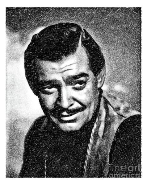 Clark Gable Wall Art - Drawing - Clark Gable, Vintage Actor By Js by John Springfield