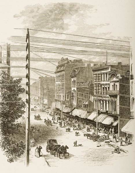 Vintage Chicago Drawing - Clark Street, Chicago, Illinois In by Vintage Design Pics