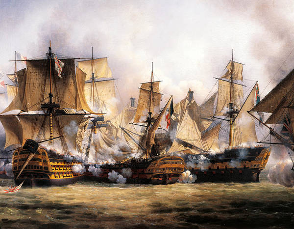 The Clash Wall Art - Painting - Clash Between English Temeraire And French Redoubtable Ships During Battle Of Trafalgar by Unknown