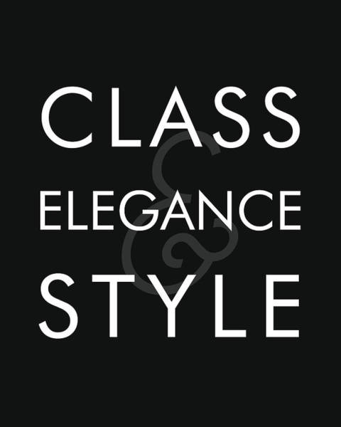Chanel Mixed Media - Class, Elegance, Style - Minimalist Print - Typography - Quote Poster by Studio Grafiikka