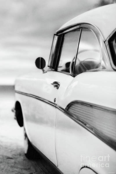 Wall Art - Photograph - Classic 57 Chevy Bel Air At The Beach Black And White by Edward Fielding