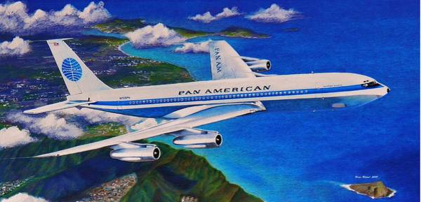 Oahu Drawing - Classic Airliner Departing Oahu by Brian Roland