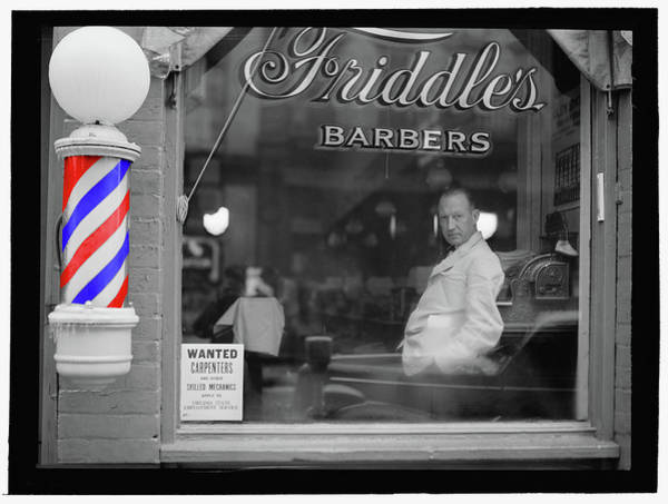 Photograph - Barber Shop Series 1 Bw - Remastered by Carlos Diaz