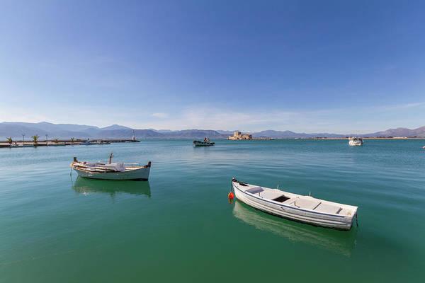Wall Art - Photograph - Classic But Beautiful Fishing Boat And Mediterranean Sea Serenity by Iordanis Pallikaras