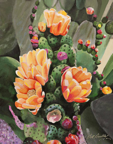 Wall Art - Painting - Classic Cactus Flowers by Bill Dunkley