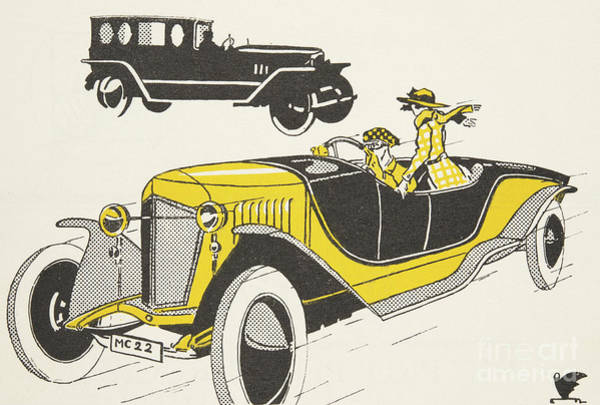 Scarf Drawing - Classic Car From The Twenties by German School