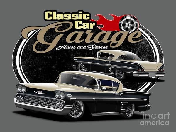 Wall Art - Digital Art - Classic Car Garage Impalas by Paul Kuras