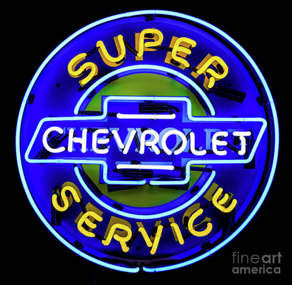 Photograph - Classic Chevrolet Neon Sign by Miles Whittingham