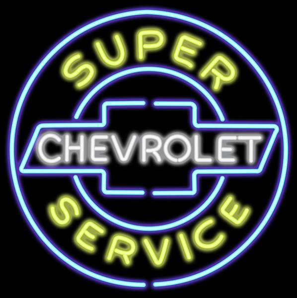 Wall Art - Digital Art - Classic Chevrolet Neon Sign by Ricky Barnard