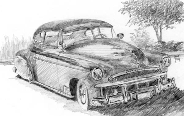 Drawing - Classic Chevy Coupe Sketch by David King
