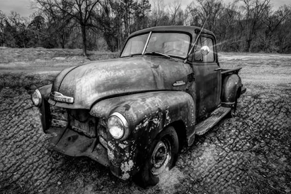 Gainesville Photograph - Classic Chevy Pickup Truck Black And White by Debra and Dave Vanderlaan