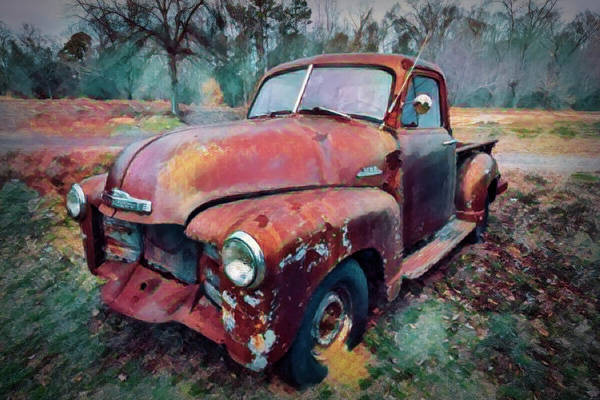 Wall Art - Photograph - Classic Chevy Pickup Truck Watercolor Painting Fun Colors by Debra and Dave Vanderlaan