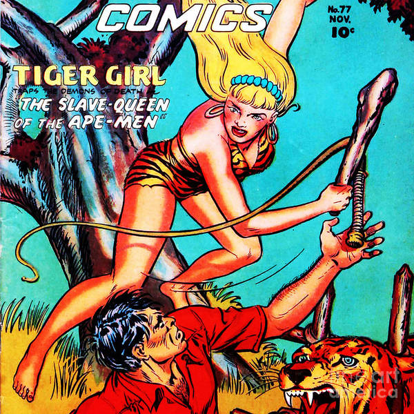 Photograph - Classic Comic Book Cover Fight Comics Tiger Girl 77 Square by Wingsdomain Art and Photography