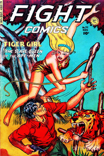 Photograph - Classic Comic Book Cover Fight Comics Tiger Girl 77 by Wingsdomain Art and Photography