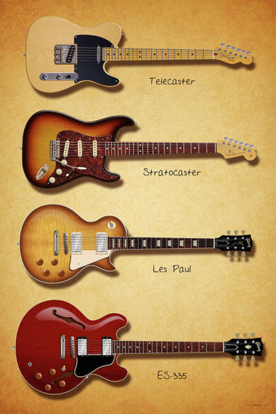 Wall Art - Digital Art - Classic Electric Guitars by WB Johnston