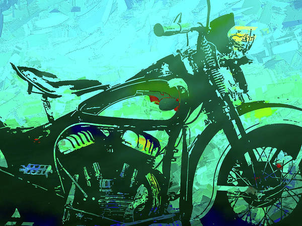 Digital Art - Classic Flathead Motorcycle Green Po by David King