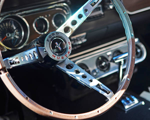 Photograph - Classic Ford Mustang Steering Wheel by Toby McGuire