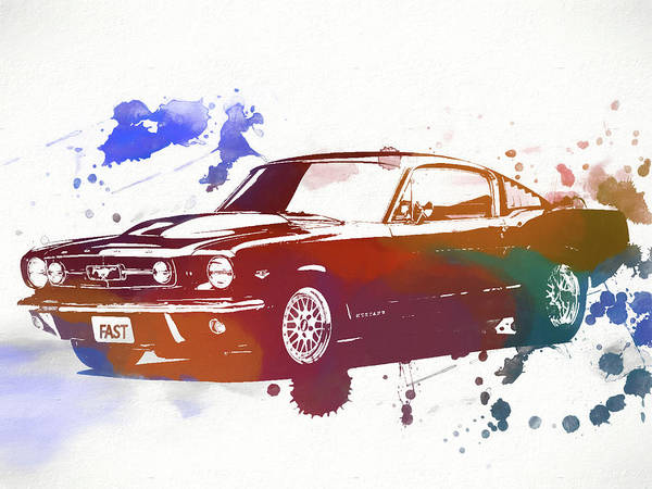 Collector Car Painting - Classic Ford Mustang Watercolor Splash by Dan Sproul