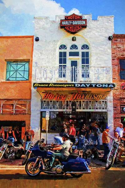 Daytona Bike Week Wall Art - Photograph - Classic Harley Hangout by Alice Gipson