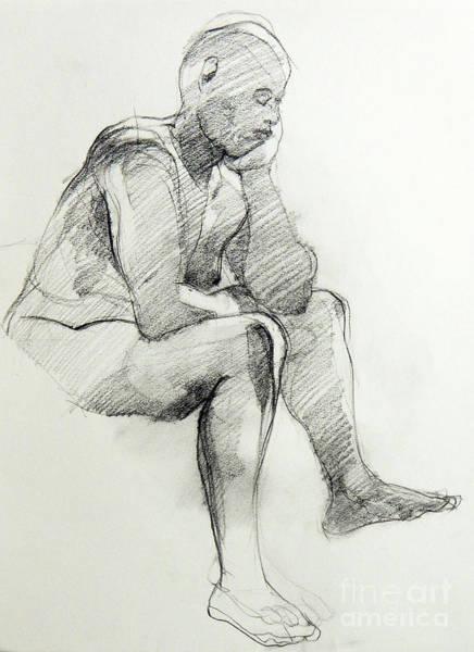 Drawing - Classic Life Drawing Of A Sitting Man Sleeping by Greta Corens