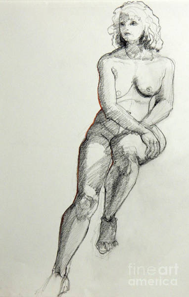 Drawing - Classic Life Drawing Of A Young Female Nude Sitting On A Stool by Greta Corens
