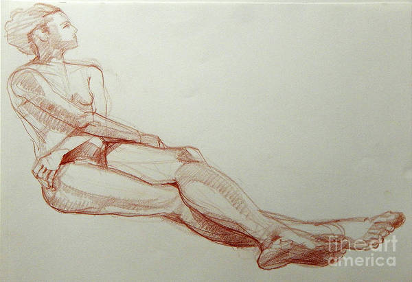Drawing - Classic Life Drawing Of A Young Female Nude With Crossed Arms by Greta Corens