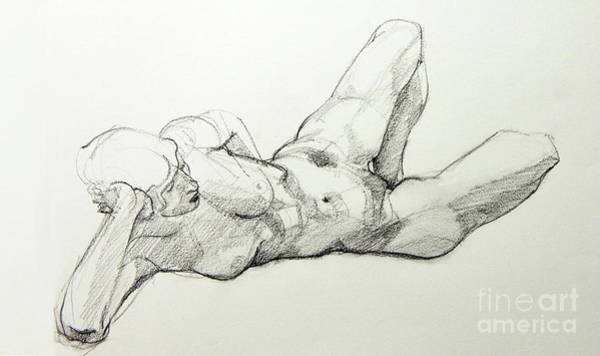 Drawing - Classic Life Drawing Of A Young, Relaxed Female Nude Listening by Greta Corens