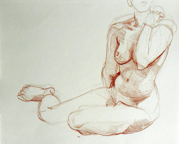 Drawing - Classic Life Figure Drawing Of A Young Nude Woman  by Greta Corens
