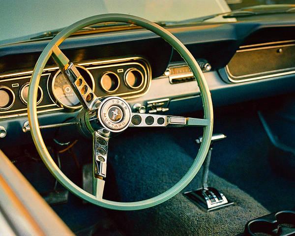 American Muscle Car Photograph - Classic Mustang Steering Wheel by Jon Woodhams