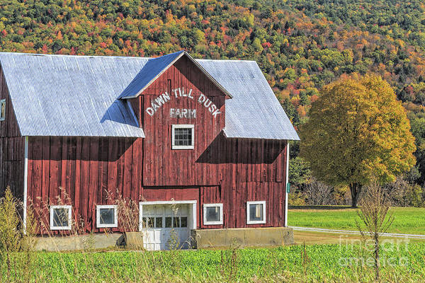 Photograph - Classic New England Barn In Autumn by Edward Fielding