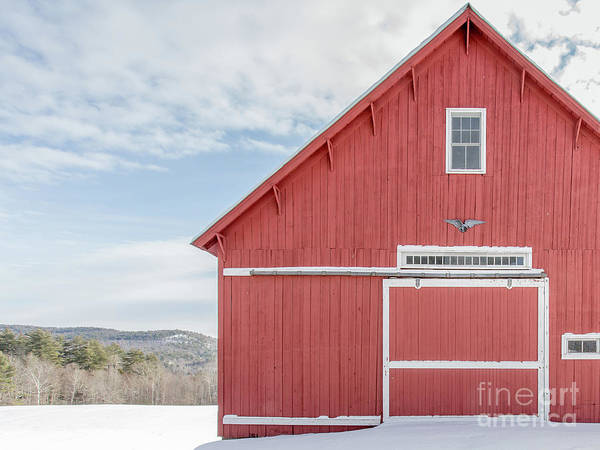 Photograph - Classic New England Red Barn In Winter Newport New Hampshire by Edward Fielding