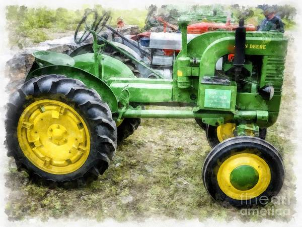 Wall Art - Digital Art - Classic Old Green Vintage Farm Tractor Watercolor by Edward Fielding