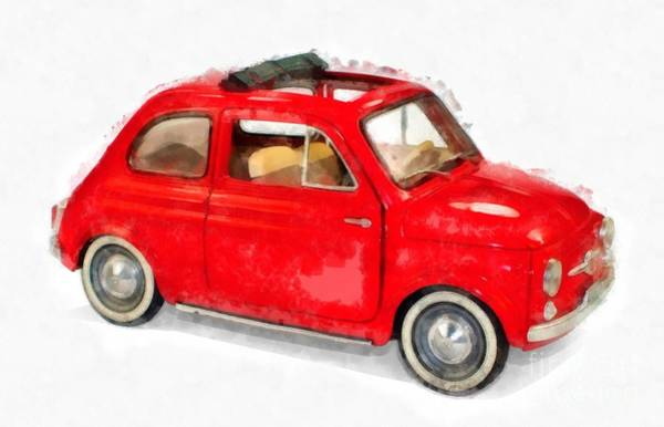 Wall Art - Painting - Classic Red Fiat Painting by Edward Fielding