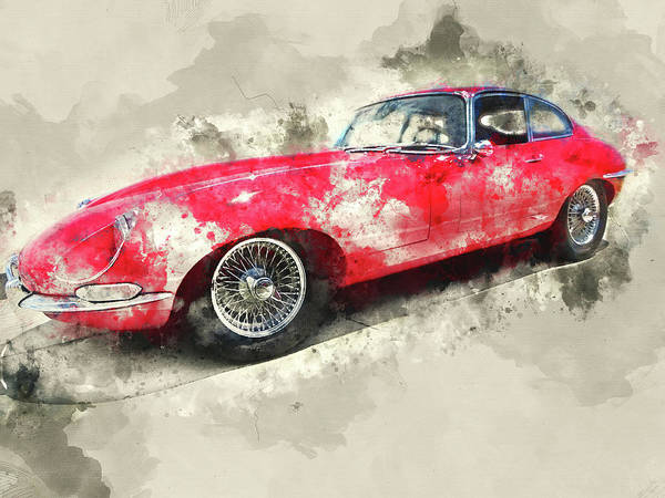Wall Art - Mixed Media - Classic Red Jaguar by Kevin O'Hare