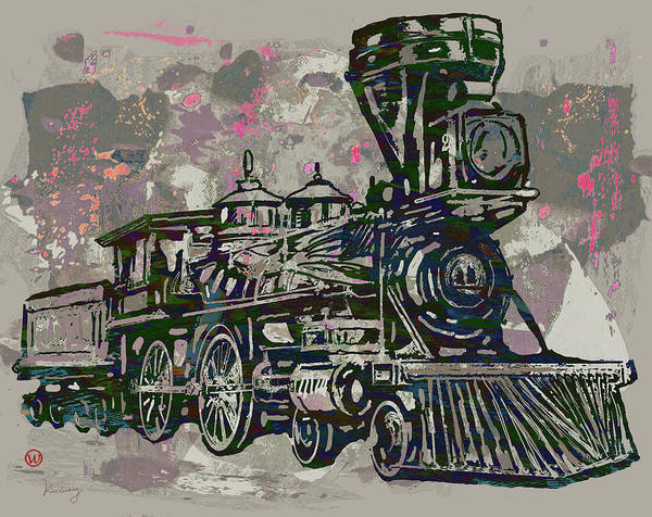 Engine Mixed Media - Classic Steam Train - New Pop Art Poster by Kim Wang