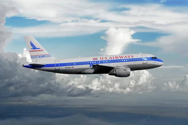 Engine Mixed Media - Classic Us Airways With Piedmont Retro Livery by Erik Simonsen
