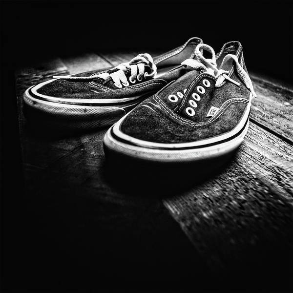 Freestyle Photograph - Classic Vintage Skateboard Shoes On Wood In Bw by YoPedro