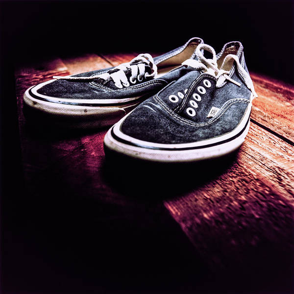 Freestyle Photograph - Classic Vintage Skateboard Shoes On Wood by YoPedro