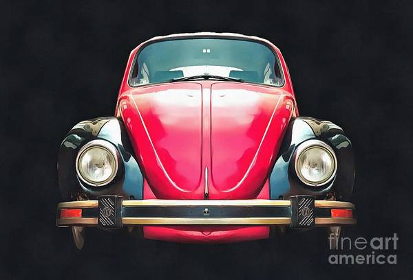 Painting - Classic Vw Beetle Pop Art Painting by Edward Fielding
